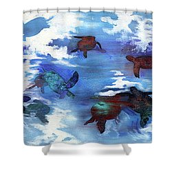 Turtles In Heaven Shower Curtain