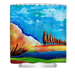 Tuscan Cypress Shower Curtain by Elizabeth Fontaine-Barr