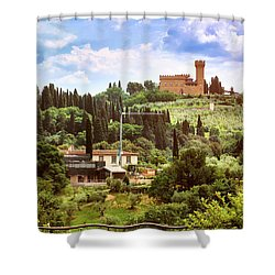 Tuscan Fields And Old Castle In Florence Shower Curtain