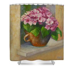 Tuscan Flower Pot Oil Painting Shower Curtain by Chris Hobel