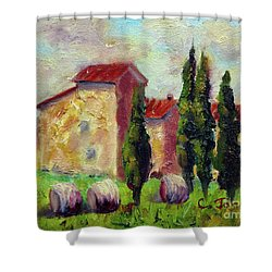 Tuscan House With Hay Shower Curtain