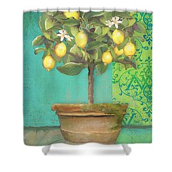 Tuscan Lemon Topiary - Damask Pattern 1 Shower Curtain