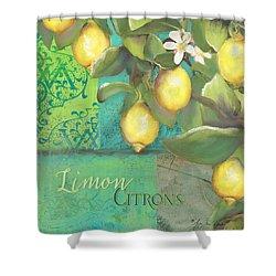 Tuscan Lemon Tree - Damask Pattern 2 Shower Curtain