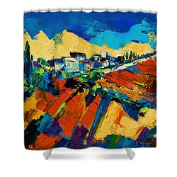 Shower Curtain featuring the painting Tuscan Light by Elise Palmigiani