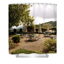 Tuscan Patio Shower Curtain by Rae Tucker