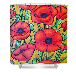 Tuscan Poppies - Crop 1 Shower Curtain by Lisa  Lorenz