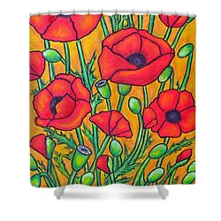 Tuscan Poppies - Crop 2 Shower Curtain by Lisa  Lorenz