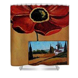 Tuscan Poppy Postcard Shower Curtain