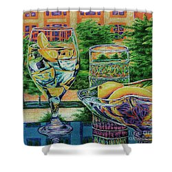 Shower Curtain featuring the drawing Tuscan Summer Lemonade  by Peter Piatt