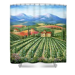 Tuscan Vineyard And Abbey Shower Curtain by Marilyn Dunlap