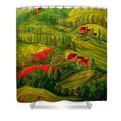 Shower Curtain featuring the painting Tuscany At Dawn by Eloise Schneider