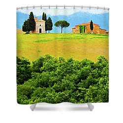 Tuscany Chapel And Farmhouse Shower Curtain by Dennis Cox