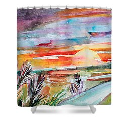Tuscany Landscape Autumn Sunset Fields Of Rye Shower Curtain by Ginette Callaway