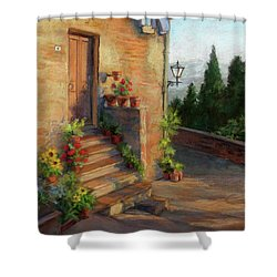 Tuscany Morning Light Shower Curtain by Vikki Bouffard