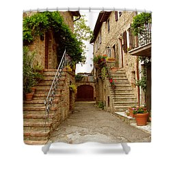 Tuscany Stairways Shower Curtain by Donna Corless