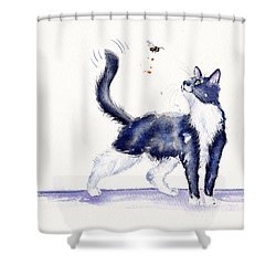 Tuxedo Cat And Bumble Bee Shower Curtain by Debra Hall
