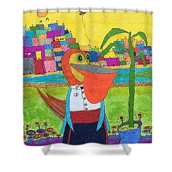 Tuxedo Pelican Shower Curtain