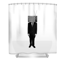 Tv Head Shower Curtain by Diane Diederich