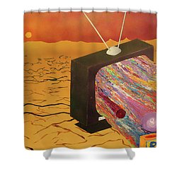 Tv Wasteland Shower Curtain by Thomas Blood