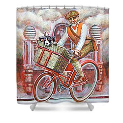 Tweed Runner On Red Pashley Shower Curtain