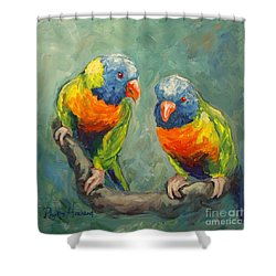Shower Curtain featuring the painting Tweeting by Phyllis Howard