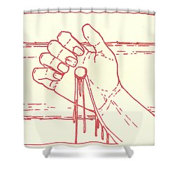 Shower Curtain featuring the drawing Twelfth Station- Jesus Is Raised Upon The Cross And Dies  by William Hart McNichols