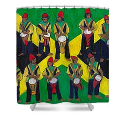 Shower Curtain featuring the painting Twelve Drummers Drumming by Denise Weaver Ross