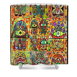 Twelve Hamsas Shower Curtain by Sandra Silberzweig