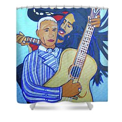 Shower Curtain featuring the painting Twelve Strings by Denise Weaver Ross