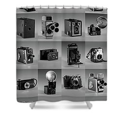 Twenty Old Cameras - Black And White Shower Curtain