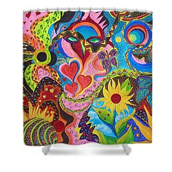 Shower Curtain featuring the painting Hearts And Flowers by Marina Petro