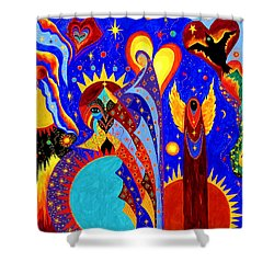 Shower Curtain featuring the painting Angel Fire by Marina Petro