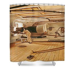 Twenty-seven Pound Cannon On A Battleship Shower Curtain by Gustave Bourgain