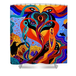 Shower Curtain featuring the painting Karmic Lovers by Marina Petro