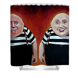 Twiddledee And Twiddledumb Shower Curtain by Tom Carlton
