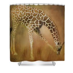 Shower Curtain featuring the photograph Twiga Kiswahili For Giraffe by Wallaroo Images