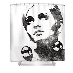 Twiggy Bw Portrait Shower Curtain