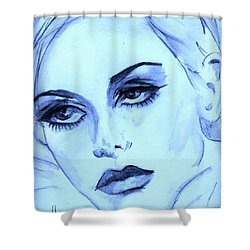 Shower Curtain featuring the painting Twiggy In Blue by P J Lewis
