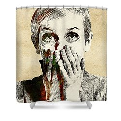 Twiggy Surprised Shower Curtain by Mihaela Pater