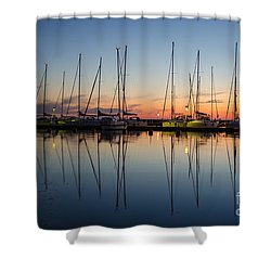 Twilight At A Small Harbor Shower Curtain by Kennerth and Birgitta Kullman