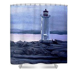 Shower Curtain featuring the painting Twilight At Peggy's Cove by Patricia L Davidson