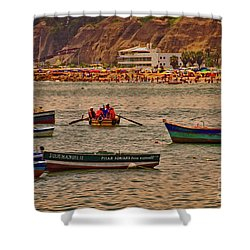 Shower Curtain featuring the photograph Twilight At The Beach, Miraflores, Peru by Mary Machare