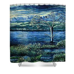 Twilight At The River Shower Curtain by Caroline Street