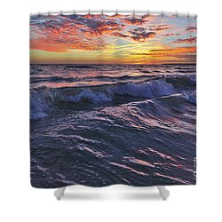 Sea And Twilight At Gale Beach In Albufeira Shower Curtain