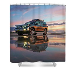 Twilight Beach Reflections And 4wd Car Shower Curtain