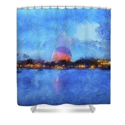 Twilight Epcot World Showcase Lagoon Wdw 02 Photo Art Mp Shower Curtain