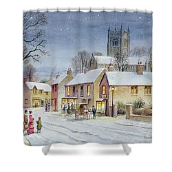 Twilight In The Village Shower Curtain by Stanley Cooke