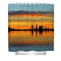 Twilight Lake Reflections In Colorado Shower Curtain