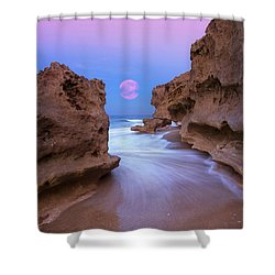 Shower Curtain featuring the photograph Twilight Moon Rising Over Hutchinson Island Beach Rocks by Justin Kelefas