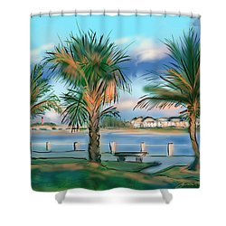 Twilight On Saw Fish Bay Shower Curtain by Jean Pacheco Ravinski